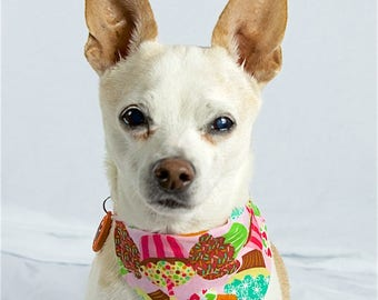 Pink Cupcakes and Floral Reversible Dog Bandana, Slip-on Collar Dog Bandana, Reversible Dog Scarf