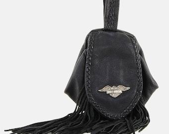 HARLEY Davidson FRINGE Leather FANNY Belt Bag Vtg 80s Black Silver Braided Biker Moto Motorcycles Rocker Rock N Roll Handbag Purse