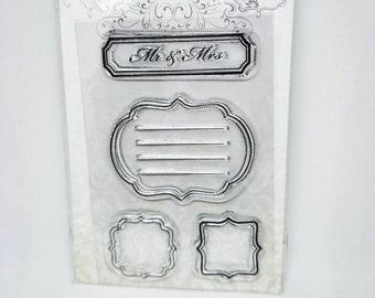 4 pcs Clear Stamps Wedding, Mr & Mrs stamp, Journaling Stamp, Frames, Borders Stamp