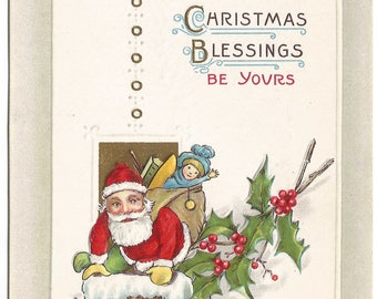 Santa Clause with Bag of Toys Going Down Chimney Holly Leaves & Holly Berries Vintage Postcard Christmas Greeting Card