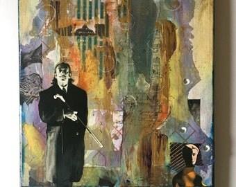 Hello Dali - Collage Original - Mixed Media Collage - Surreal Collage - Tribute to Dali - Unique Home Decor - Wall Art - Collage Art
