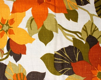Vintage Floral Upholstery Fabric by 5th Ave Designs circa 1960's . Rustic Autumn Flower Fabric . Furniture Chair Material . Bay Sunflower