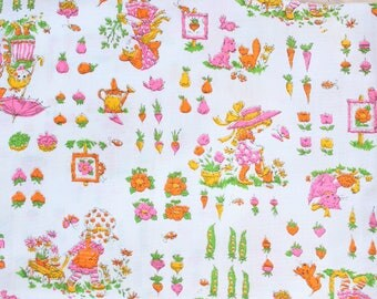 1960's In the Garden Children's Sweet Cotton Fabric with Veggies Carrots Sweet white pink green yellow summer spring