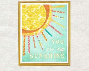 NEW You are My Sunshine, Vertical, Wall Art, Chidren's Wall Decor, Girl Nursery, Print, Art for Girl Nursery, My Only Sunshine, Illustration
