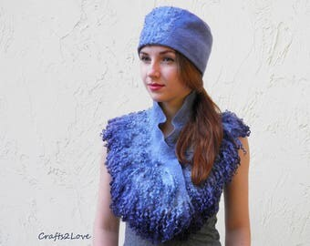 SET Felted hat with neckwarmer Felt Necklace collar Scarf Wool curls Nave Blue Storm Cloud Blue Gray cowl Locks Eco style pure wool silk