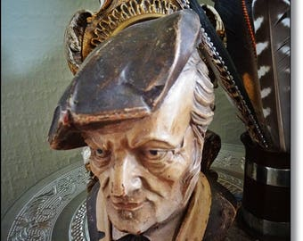 Wood Carving, Carved Head, Black Forest Style,Whisky Galore, Country Farmer,Vintage Scotsman, Carved Head with Tammy, Wooden Desk Companion.