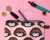 Pencil Case - Make Up bag - hedgehog - pink - pencil pouch - student gift - teacher gift - pencil holder - zipper pouch -gift for her