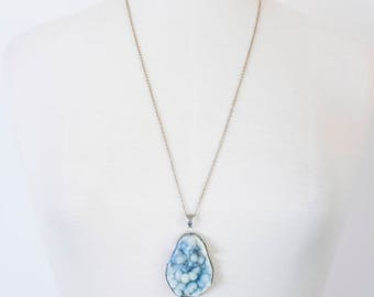 Handmade Blue Druzy Crystal Geode Necklace