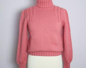 Vintage 1980's Ralph Lauren Dusty Rose Hand Knit Wool Turtleneck Sweater S