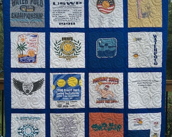 Tee Shirt Quilts, TShirt Quilts, UpCycled Quilts,  Deposit for T Shirt Quilts, Graduation Quilts, FREE SHIPPING, Custom made from clothing