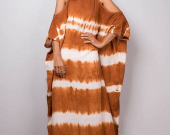 Kaftan, Kaftan dress, Halter Dress, Tie Dye Dress, Brown Orange and White Summer Dress : Shibori Collection