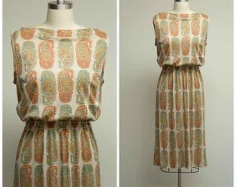 Vintage 1950s Dress • Harvest Moon • Orange Green Paisley Print Nylon Jersey 50s Sheath Dress Size Medium