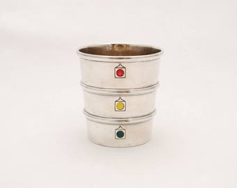 """Vintage 1930's Gorham Sterling Silver """"Stoplight Jigger"""" - Engraved """"Judy and Allen"""" - Barware Collectibles"""