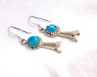 Turquoise Dangle Earrings Vintage Native American Navajo Squash Blossom Dangles Sterling Silver Southwestern Jewelry