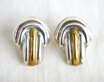 Large Mexican Earrings Art Deco Style Sterling Silver Brass Mixed Metal Draped Domes Statement 80s Jewelry Taxco Mexico