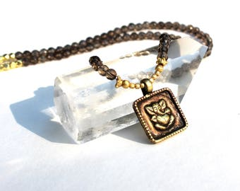 SMOKY Quartz GANESHA necklace