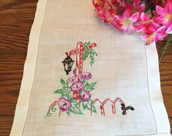 Embroidered Dresser Scarf Purple Floral Linen Table Runner Vintage Table Linens