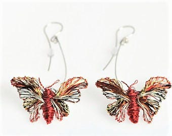 Butterfly earring, red earring, wire sculpture, long, dangle earring, butterfly jewelry, insect jewelry, Winter, birthday gift for her, boho