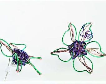 Flower earrings, wire wrapped jewelry, green blue earrings, delicate, flower drop earrings, hippie jewelry, summer earrings, girlfriend gift