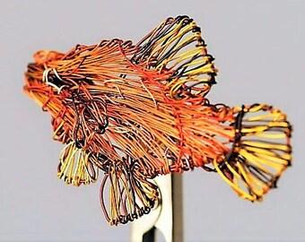 Fish brooch Wire sculpture art Beach Tropical jewelry Sea Ocan jewelry Orange yellow Cute pin Wire animal Modern hippie Birthday gift women