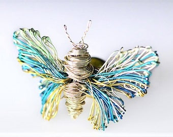 Butterfly brooch, light blue, silver butterfly, Insect jewelry, cute pin, tiny sculpture wire art, boho chic, Christmas, bridesmaid gift