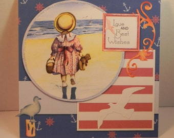 Little Girl Seaside blue card