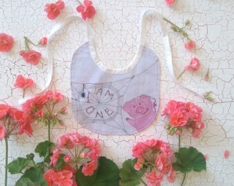 """First birthday """"I am one"""" Bib. Charlotte's Web theme. Printed on 100% Cotton. Made to Order"""