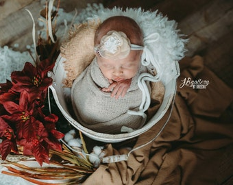 Newborn Photo Prop, Newborn Faux Fur, Newborn Headband and Wrap, Newborn Photography Props, Faux Fur Fabric, Basket Fillers, Prop Package
