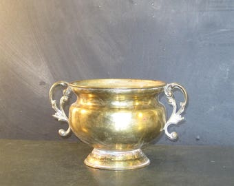 Small Round Vintage Brass Two Handled Pot Planter Jardiniere