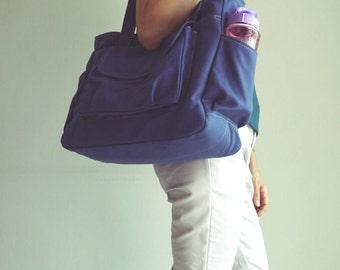Lianny - On SALE - Navy Blue, Diaper bag, Messenger Bag, Handbag, Women, Canvas Messenger Bag, Gift for Her, Baby