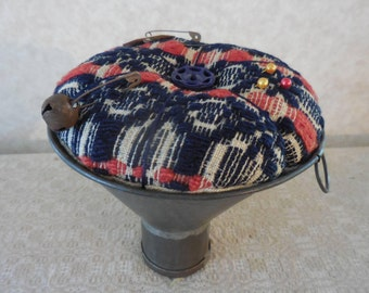 Primitive Pinkeep Vintage Woven Red Blue Coverlet Pin Cushion Vintage Tin Funnel Recycle