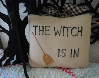 Primitive Halloween Pillow Tuck Hand Painted Bowl Filler Folk Art The Witch Is In
