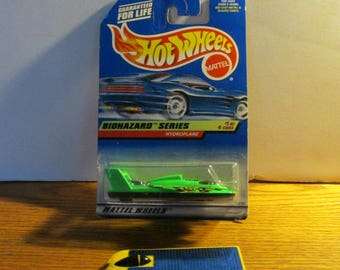 Pair of Hot Wheels,  Unopened BioHazard Series Hydroplane, Cal State LA Solar Eagle Car, Made by Mattel, Vintage Collectible, Male Toy