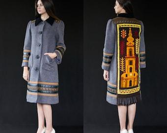 Women's winter coat - unique designer piece, wool coat, recycled vintage materials, handstitched coat, slow fashion garment, Bartinki
