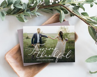 Editable Template - Forever Thankful Thank You Photo Card