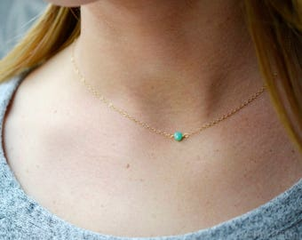 Small Chrysoprase Necklace, Sterling Silver or 14kt Gold Filled Chrysoprase Necklace, Small Chrysoprase Pendant, Green Chalcedony