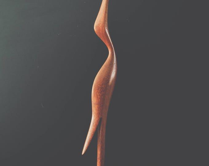 Large Mid Century Hand-Carved Wood Crane // Danish Modern Teak Bird // California Bohemian Home Decor