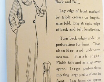 Vintage 1920s Long Apron Pattern, May Manton's 8514  Full Work Apron, Unprinted Pattern, Size 34 or 36 Bust, Antique Paper Pattern