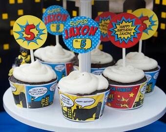 Superhero Birthday Cupcake Toppers, Superhero Birthday Decorations, Printable Pdf File, Personalized