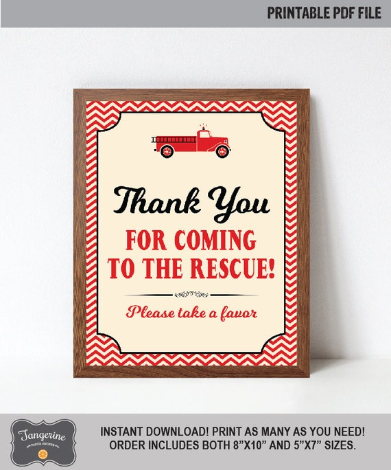 Fire Truck Favor Sign Printable Fire Truck Birthday Sign Thank You - Out of order sign pdf