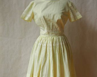 1950s/1960s Pale Yellow Garden Party Dress XS