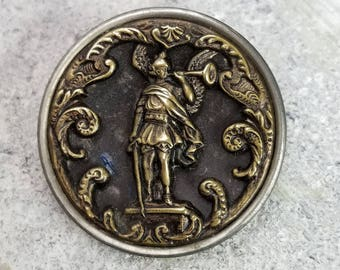 Archangel Angel St Gabriel with Horn Pictorial ~ Antique Stamped & Pierced Brass Religious Picture Button ~ 1-5/8 inch 41mm ~ Coat Button