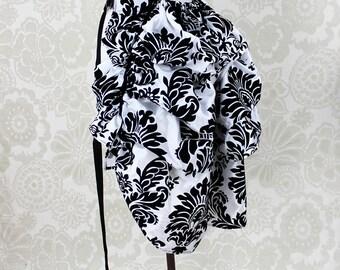 "Steampunk Siren Bustle Overskirt -- Black & White Damask Taffeta, Medium Length -- Fits up to 50"" Waist/Upper Hip"