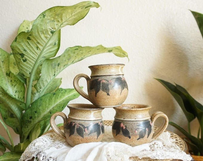 Brown Holly Floral Leaves Ceramic Stoneware Mug Set of Three