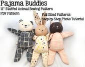 easy stuffed animal sewing pattern, cat, bunny, bear, soft toy plushie pattern, PDF instant download, A4 or letter