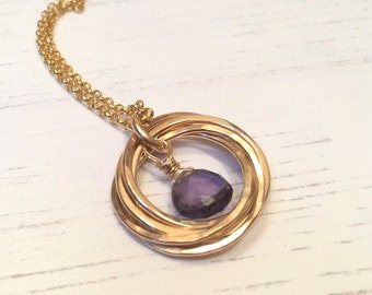 80th birthday Necklace, Amethyst Necklace, February Birthstone, Gold Rings Necklace, 90th birthday, Amethyst Gemstone, Gold Necklace