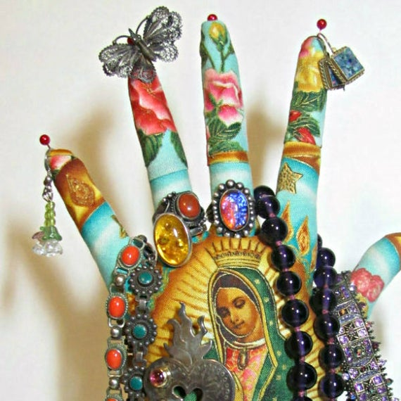 TALL Our Lady of Guadalupe Fabric HAND-Stand Jewelry Display Ready to Ship