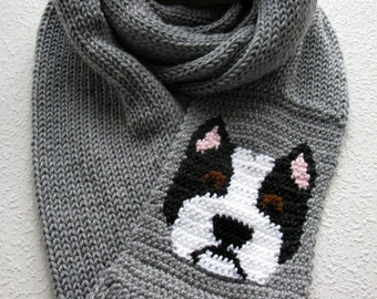 American Staffordshire terrier Infinity Scarf. Gray knitted, long cowl scarf with a black and white am staff dog. Pit bull scarf