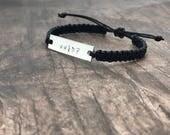 Wwjd bracelet, waxed cotton bracelet, macrame bracelet, engraved bracelet, adjustable bracelet