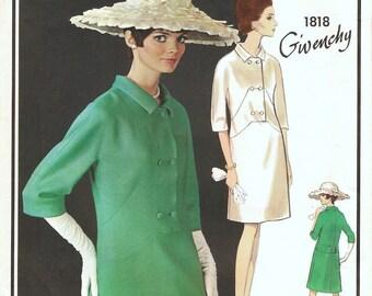 Fabulous Vintage 1960s Vogue Paris Original 1818 Givenchy Seam Interest Double Breasted Drop Waist Dress Sewing Pattern B32